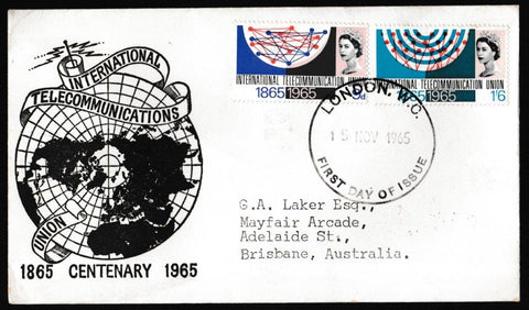 Great Britain First Day Cover, 'International Telecommunications Union Centenary', Unknown, London WC, 15-Nov-1965