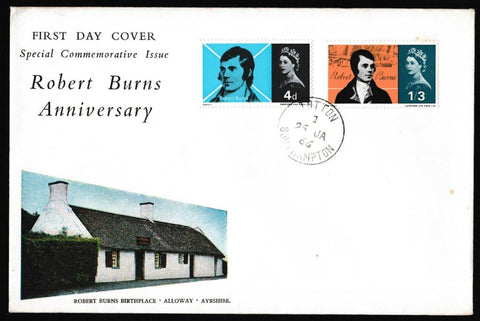 Great Britain First Day Cover, 'Robert Burns Commemoration', Royal Mail, Totton, Southampton, 25-Jan-1966