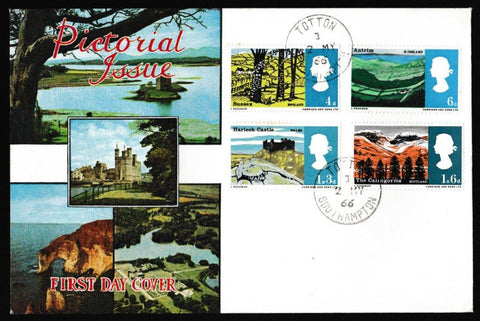 Great Britain First Day Cover, 'British Landscapes', Connoiseur, Totton, Southampton, 02-May-1966