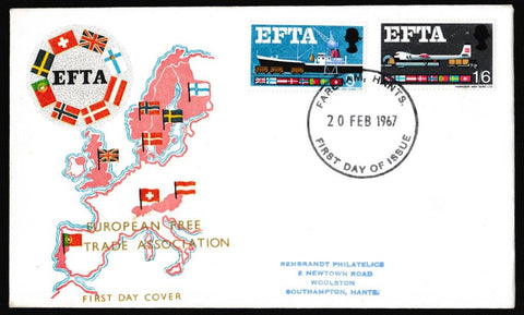 Great Britain First Day Cover, 'European Free Trade Agreement (EFTA)', Rembrandt, Fareham, 24-Apr-1967