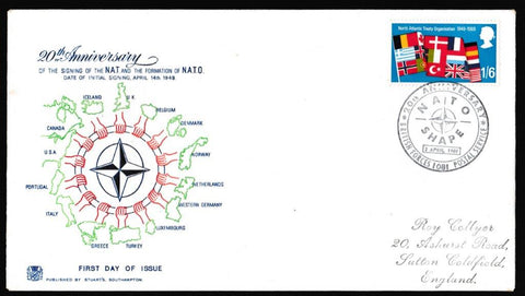 Great Britain First Day Cover, 'Notable Anniversaries', Stuart, Nato Shape, BFPS 1081, 02-Apr-1969