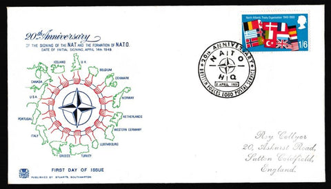 Great Britain First Day Cover, 'Notable Anniversaries', Stuart, Nato HQ, BFPS 1080, 02-Apr-1969
