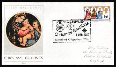 Great Britain Commemorative Cover, 'Christmas 1969 - FDC Supplies Handstamp', Philart, FDC Supplies, Chippenham, 06-Dec-1969