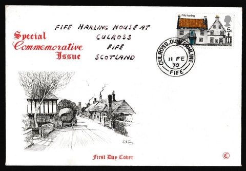 Great Britain First Day Cover, 'British Rural Architecture', Connoiseur, Culross, Dunfermline, 11-Feb-1970