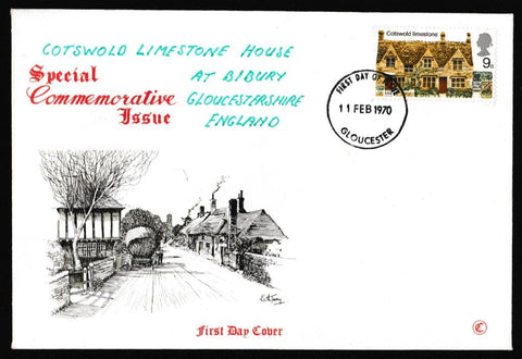 Great Britain First Day Cover, 'British Rural Architecture', Connoiseur, Gloucester, 11-Feb-1970