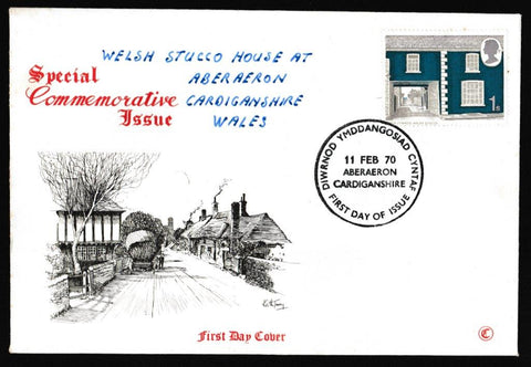 Great Britain First Day Cover, 'British Rural Architecture', Connoiseur, Aberaeron, Cardiganshire, 11-Feb-1970