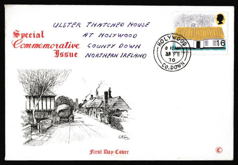 Great Britain First Day Cover, 'British Rural Architecture', Connoiseur, Holywood, County Down, 11-Feb-1970