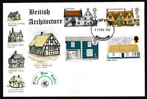 Great Britain First Day Cover, 'British Rural Architecture', Wessex, Worcester, 11-Feb-1970