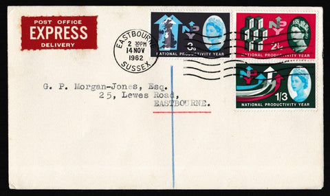 Great Britain First Day Cover, 'National Productivity Year', Plain, Eastbourne, 14-Nov-1962