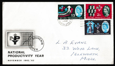 Great Britain First Day Cover, 'National Productivity Year', PTS/BPA, Hounslow, Middlesex, 14-Nov-1962