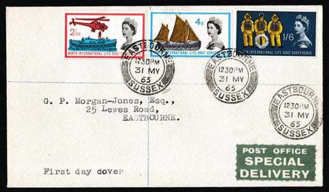 Great Britain First Day Cover, '9th International Lifeboat Conference - Tied Postmark', Plain, Eastbourne, 31-May-1963