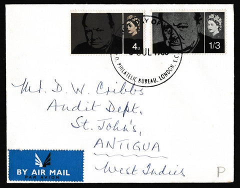 Great Britain First Day Cover, 'Sir Winston Churchill Commemoration', Plain, GPO Philatelic Bureau, London, EC1, 08-Jul-1965