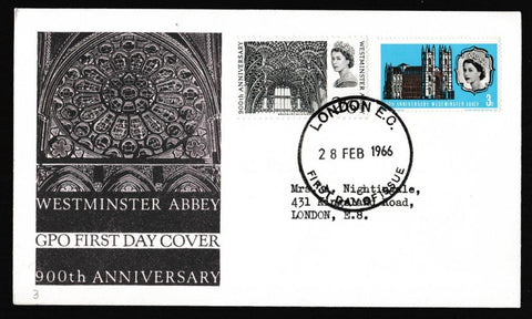 Great Britain First Day Cover, '900th Anniversary of Westminster Abbey', Royal Mail, London EC, 28-Feb-1966