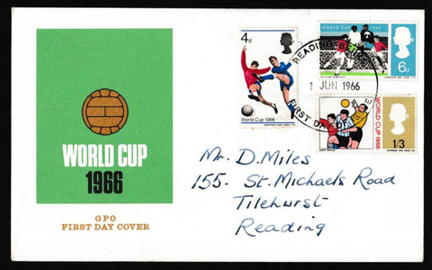 Great Britain First Day Cover, 'World Cup 1966', Royal Mail, Reading, Berkshire, 01-Jun-1966