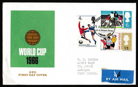 Great Britain First Day Cover, 'World Cup 1966', Royal Mail, GPO Philatelic Bureau, London, EC1, 01-Jun-1966