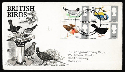 Great Britain First Day Cover, 'British Birds', Stuart, London EC, 08-Aug-1966