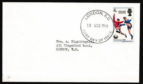 Great Britain First Day Cover, 'World Cup 1966 - England Winners', Plain, London EC, 18-Aug-1966