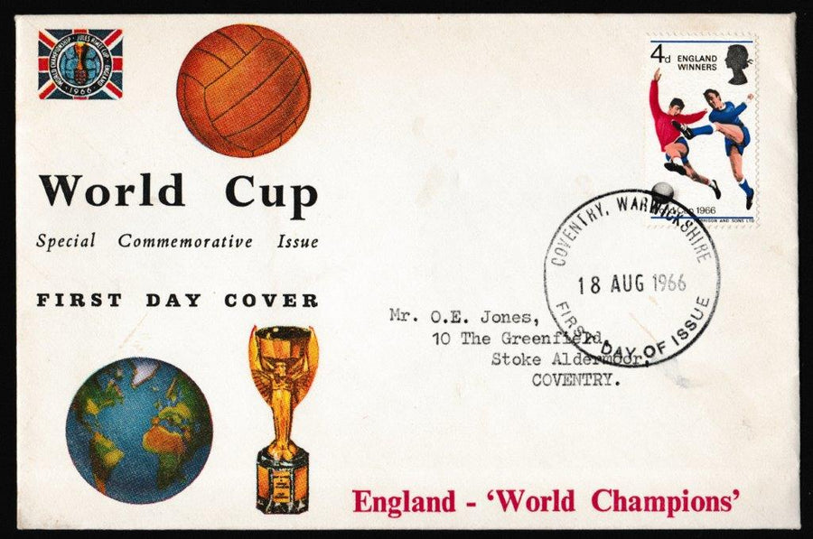 Great Britain First Day Cover, 'World Cup 1966 - England Winners', Connoiseur, Coventry, 18-Aug-1966
