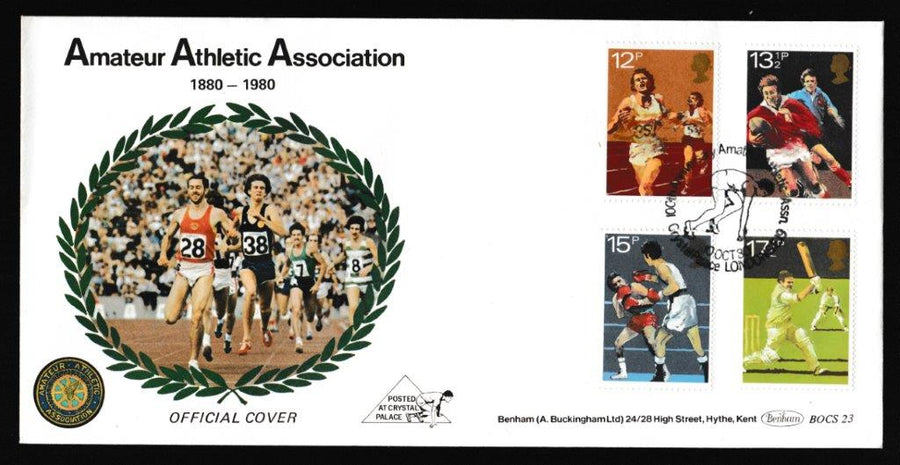 Great Britain First Day Cover, 'British Sports Centenaries', Benham, 100th Anniversary Amateur Athletic Assn, Crystal Palace, London, 10-Oct-1980