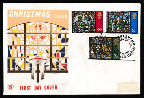 Great Britain First Day Cover, 'Christmas 1971', Wessex, Bethlehem, Llandeilo, 13-Oct-1971