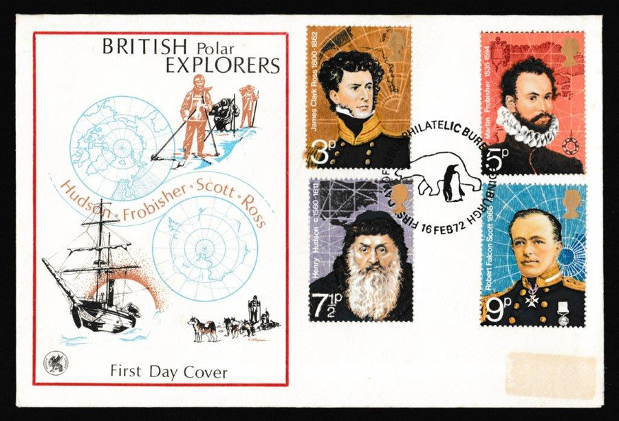 Great Britain First Day Cover, 'British Polar Explorers', Wessex, Philatelic Bureau, Edinburgh, 16-Feb-1972