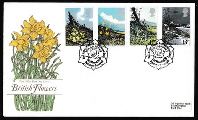 Great Britain First Day Cover, 'British Spring Flowers', Royal Mail, Nat Assn Flower Arrangers, Penzance, 21-Mar-1979