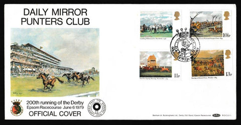 Great Britain First Day Cover, 'Horse Racing - Derby Bicentenary', Benham, Derby 200, Epsom, Surrey, 06-Jun-1979
