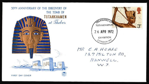 Great Britain First Day Cover, 'General Anniversaries', Stuart, Treasures of Tutankhamun Exhibition London WC, 26-Apr-1972