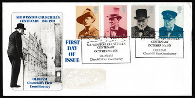 Great Britain First Day Cover, 'Centenary of the Birth of Sir Winston Churchill - Oldham', Official, Churchill's First Constituency, Oldham, 09-Oct-1974