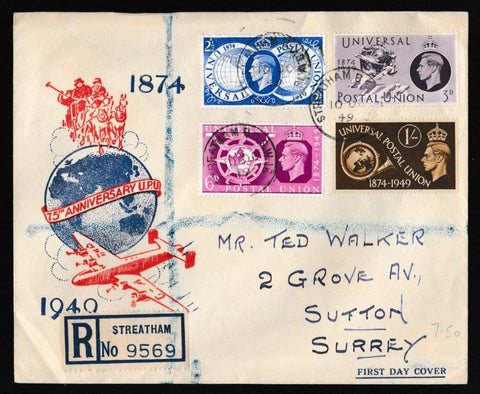 Great Britain First Day Cover, 'Universal Postal Union - 75th Anniversary', PTS/BPA, Streatham, 10-Oct-1949