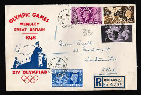 Great Britain First Day Cover, 'Olympic Games - Wembley', PTS/BPA, Horseferry Road, 29-Jul-1948