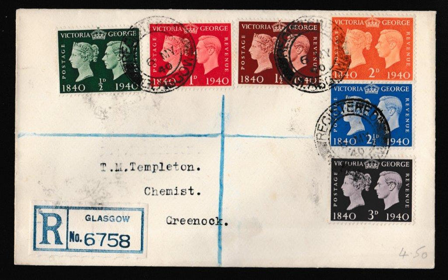 Great Britain First Day Cover, 'Centenary of First Adhesive Postage Stamp', Plain, Glasgow, 06-May-1940