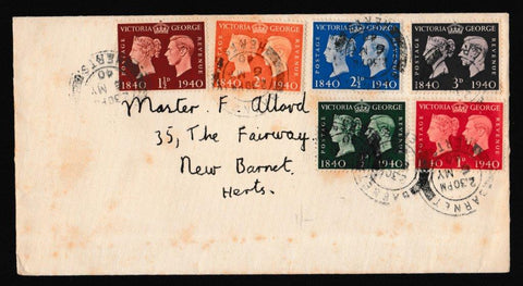 Great Britain First Day Cover, 'Centenary of First Adhesive Postage Stamp', Plain, Barnet, Herts, 06-May-1940