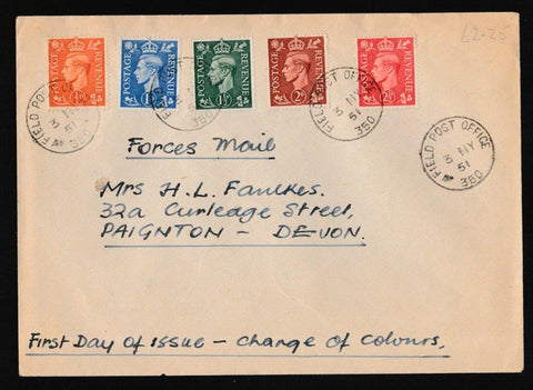 Great Britain First Day Cover, 'Definitives - Festival Low Value Colour Change', Plain, Field Post Office 360, 03-May-1951