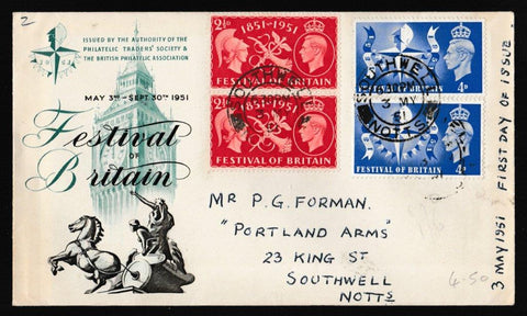 Great Britain First Day Cover, 'Festival of Britain - London', PTS/BPA, Southwell, Notts, 03-May-1951