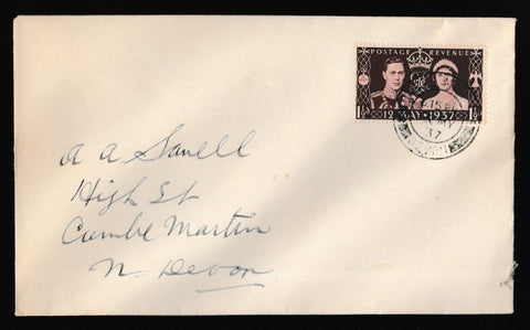Great Britain First Day Cover, 'Coronation Issue', Plain, Coombe Martin, Devon, 13-May-1937