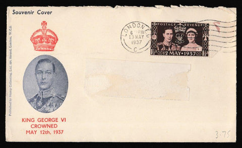 Great Britain First Day Cover, 'Coronation Issue', PTS/BPA, London EC, 13-May-1937