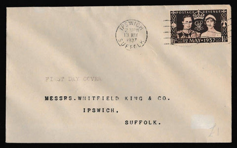 Great Britain First Day Cover, 'Coronation Issue', Plain, Ipswich, Suffolk, 13-May-1937