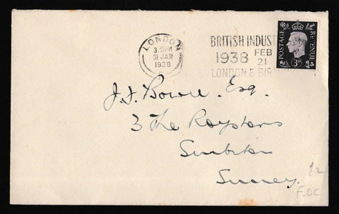 Great Britain First Day Cover, 'King George VI 3d Violet', Plain, London, 31-Jan-1938