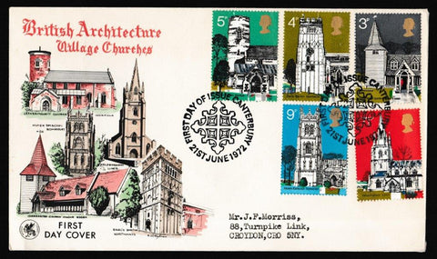Great Britain First Day Cover, 'Village Churches - Canterbury', Wessex, Canterbury, 21-Jun-1972