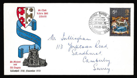 Great Britain First Day Cover, 'Christmas 1970 - Lilleshall Parish Church', Official, Lilleshall Parish Church, Lilleshall, Salop, 25-Nov-1970