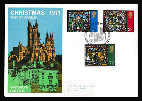 Great Britain First Day Cover, 'Christmas 1971 - Canterbury', Universal, Canterbury, 13-Oct-1971