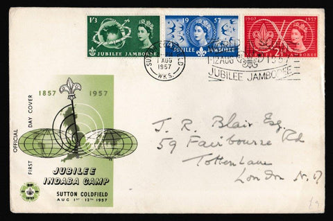 Great Britain First Day Cover, 'World Scout Jamboree - Sutton Coldfield Slogan', Official, Sutton Coldfield, 01-Aug-1957