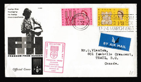 Great Britain First Day Cover, 'Freedom from Hunger - Stampex Cachet', Royal Mail, London SW1, 21-Mar-1963
