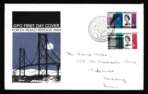 Great Britain First Day Cover, 'Forth Road Bridge - South Queensferry', Royal Mail, South Queensferry, South Lothian, 04-Sep-1964