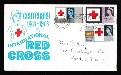 Great Britain First Day Cover, 'Red Cross - Slogan Postmark FDI Envelope', PTS/BPA, London SW, 15-Aug-1963