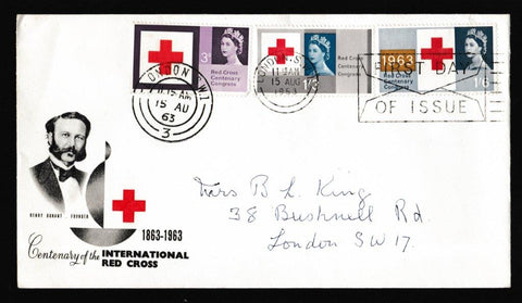 Great Britain First Day Cover, 'Red Cross - Slogan Postmark FDI Envelope', PTS/BPA, London SW1, 15-Aug-1963