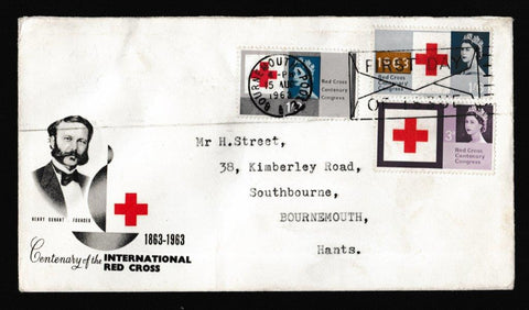 Great Britain First Day Cover, 'Red Cross - Slogan Postmark FDI Envelope', PTS/BPA, Bournemouth, 15-Aug-1963