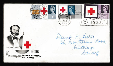 Great Britain First Day Cover, 'Red Cross - Slogan Postmark FDI Envelope', PTS/BPA, Cardiff, 15-Aug-1963