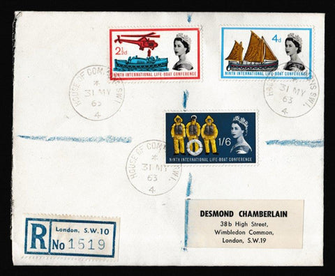 Great Britain First Day Cover, 'Lifeboat Conference - House of Commons CDS', Plain, House of Commons, London, SW1, 31-May-1963
